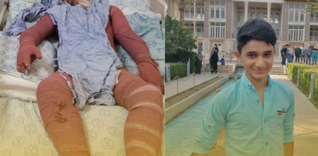 نوجوان فداکار ایذهای روی تخت بیمارستان